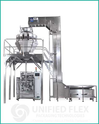 High Speed vertical form fill seal machine with multihead combination weigher and vertical conveyor