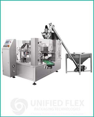 Mid level preformed bagging machine with volumetric auger filler