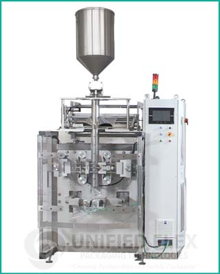 High speed vertical form fill seal packaging machine with volumetric liquid filler