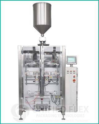 Mid level vertical form fill seal packaging machine with liquid filler