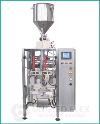 Entry level vertical form fill seal bagging machine with volumetric liquid filler