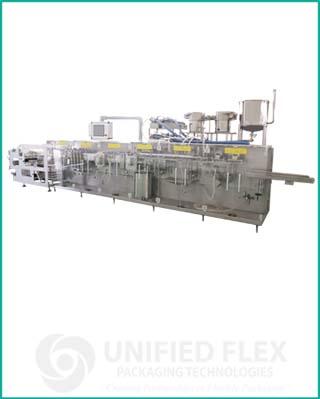 High speed form fill bagging machine with volumetric liquid filler