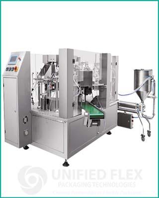 Mid level Preformed packaging machine with volumetric liquid filler