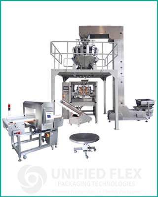 Mid level vertical form fill seal packaging machine with combination scale