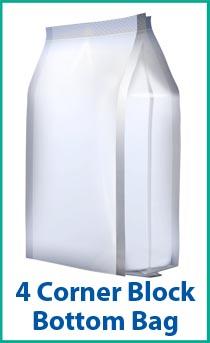 4 Corner Block Bottom Bag - a packaging option for a bagging machine.
