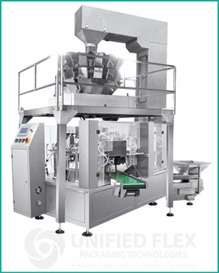 Mid level preform pouch bagging machine with multihead combination scale