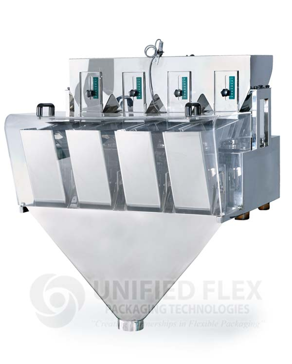 Four Head Linear Scale For A Vertical Form Fill Seal Packaging Machine
