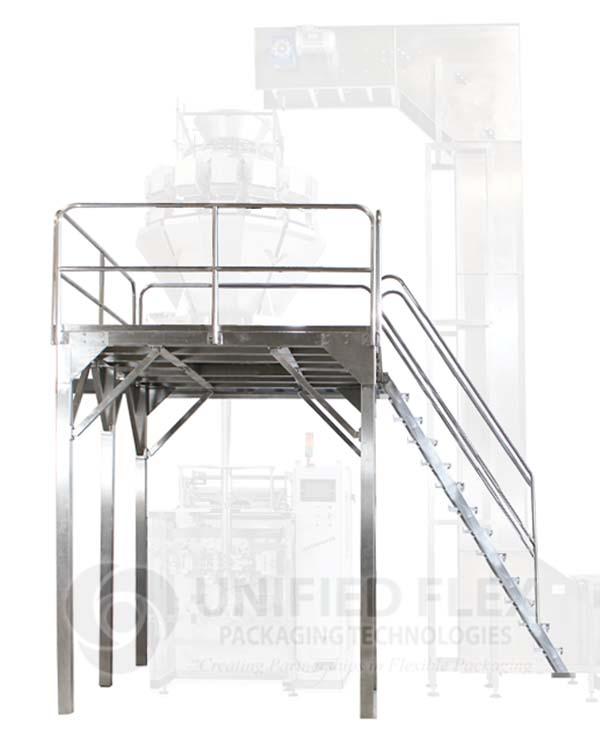 Mezzanine Platform For A Vertical Form Fill Seal Packaging Machine