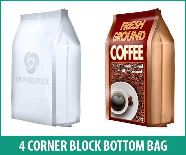 4 Corner block bottom bag designed as a ground coffee bag