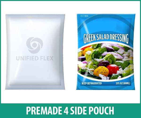 premade 4 side pouch designed as a salad dressing pouch.