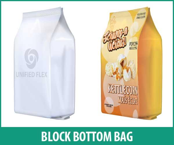 Block bottom bag designed as a snack food bag