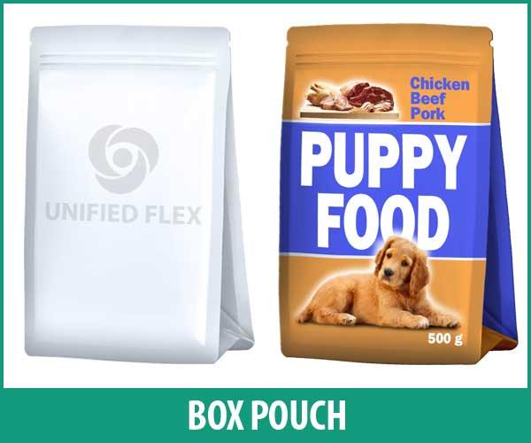 Box Pouch bag designed as a pet food bag