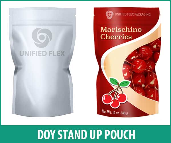 Doy Stand up Pouch designed as a Marishino Cherries food pouch