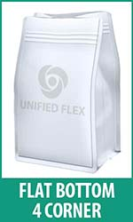 Flat Bottom 4 corner bag - a packaging option for a bagging machine.