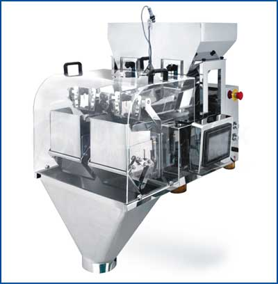 Linear-Net-Weigher-Double-Head Combination Filler And Scale For Vertical Form Fill Seal Packaging Machines