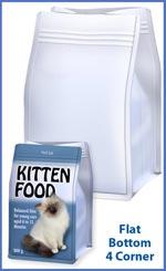 Flat bottom 4 corner bag for pet foods