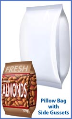 Pillow bag with side gussets for Almonds and snackfoods
