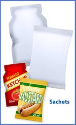 Sachet and pillow bag for ketchup and mustard