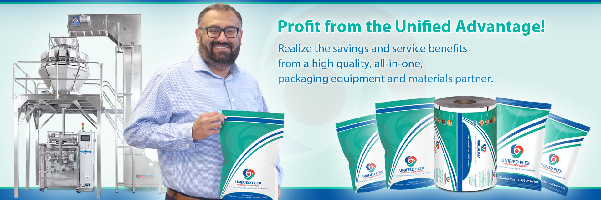 Al Aman Owner Of Unified Flex With Vertical Form Fill Packaging Machine And Premade Pouches And Rollstock Film