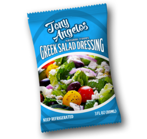 pillow bag with salad dressing for meal kits